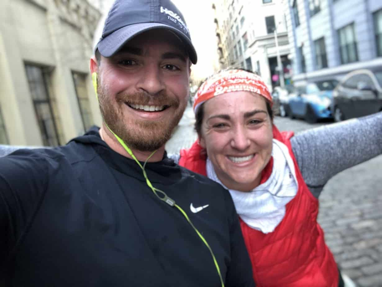 Kelly Roberts and Gene Gurkoff, Founder of Charity Miles, running in Brooklyn